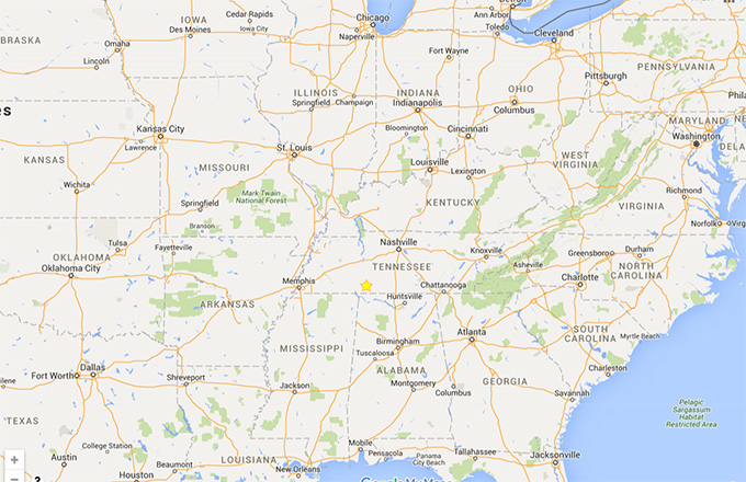 Map shows location of Waynesboro in relation to Eastern US